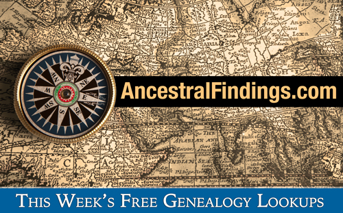 This Week's Free Genealogy Lookups (October 5)
