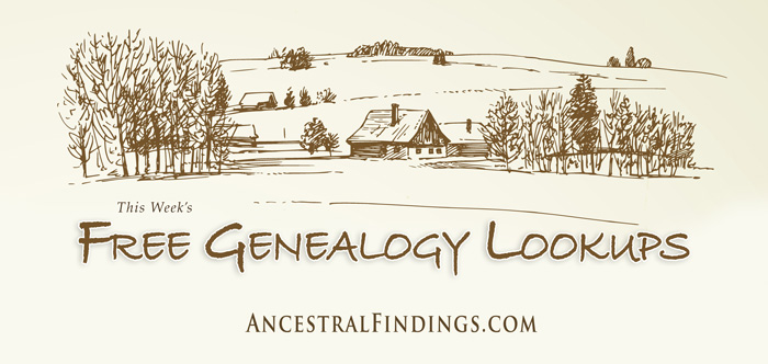 This Week's Free Genealogy Lookups - May 9, 2015