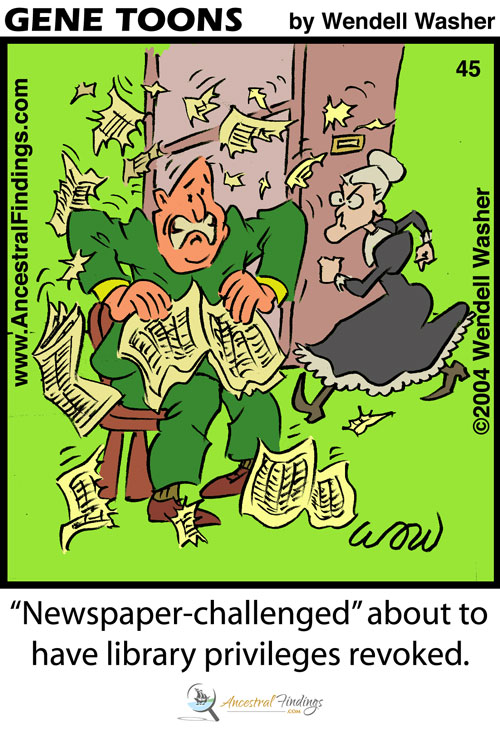 """""""Newspaper-challenged"""" about to have library privileges revoked."""" (Genetoons #45)"""